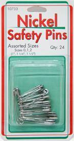 Assorted Nickel Safety Pins