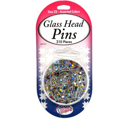 Glass Head Pins Size 22 - Assorted Colors