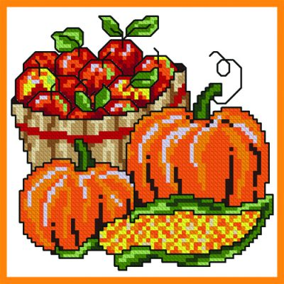 Basket of Apples Cross Stitch Project
